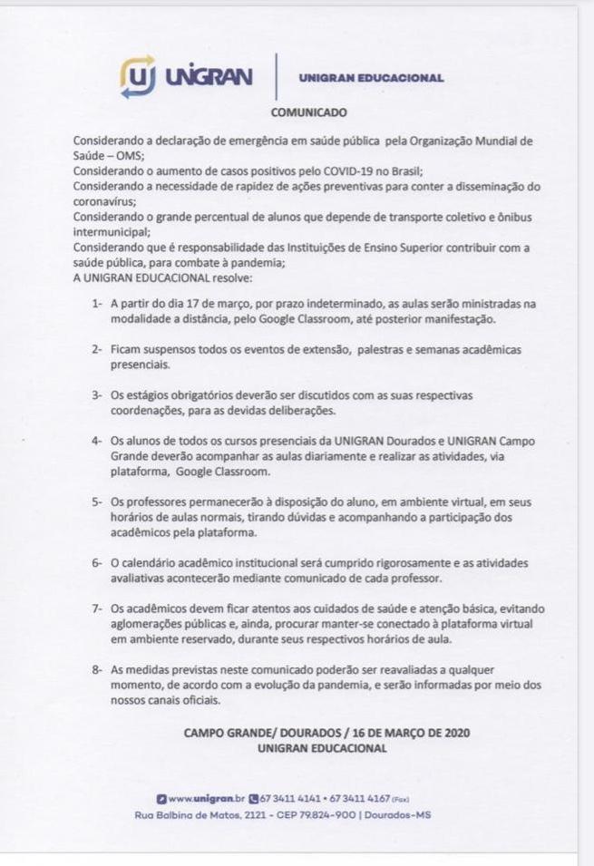 Unigran confirma aluna com coronavírus e suspende aulas