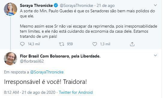 """""""#Demitaumsenadorem2022"""", Soraya Thronicke é enquadrada por internautas"""